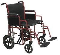 330r - Lightweight Red Transport Chair whand brakes