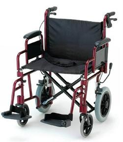 "22"" Seat Bariatric - Lightweight Aluminum Transport Wheelchair with Swing A"